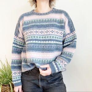 Vintage Tulchane Pastel Rose Bleu Wool Sweater XL